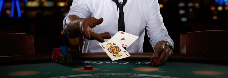 blackjack player and cards